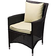 Modway Convene Wicker Rattan Outdoor Patio Dining Armchair With Cushion in Espresso Beige
