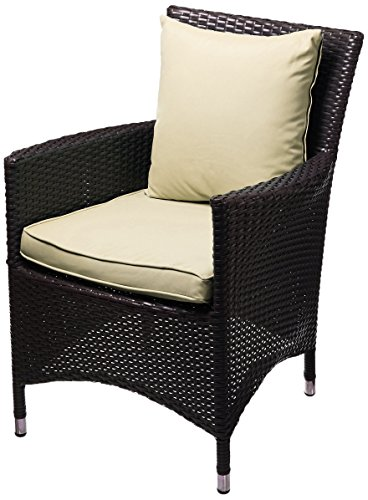 Modway Convene Wicker Rattan Outdoor Patio Dining Armchair With Cushion in Espresso (Cottage Wicker Furniture)