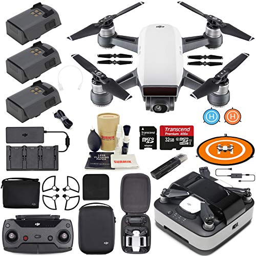 DJI Spark Drone Quadcopter Fly More Combo (Alpine White) with Portable Charging Station, 3 Batteries, Remote Controller, Charger, Charging Hub, Shoulder Bag, Bundle Kit with Must Have Accessories (Best Black Friday Deal On Iphone 6s Plus)