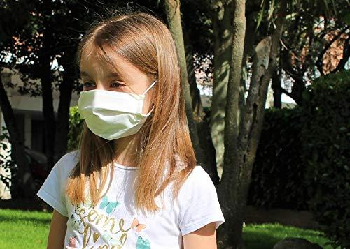 51fJjzzLybL ✅ Mascarilla higiénica reutilizable de alta protección homologada UNE 0065:2020 (Norma Ministerio Sanidad España) mediante ensayo EN14683:2019 ⭐ Tela 100% algodón tratado con tecnología Cottonblock (propiedades hidrófugas y de bloqueo): repele las microgotas de saliva dentro y fuera; facilita la respiración. ⭐ Test de laboratorio de protección BFE 98,2% ⭐ Protección bidireccional, proteje al que la lleva y a los demás (no excluye de cumplir las normas de distanciamiento social). ✅ Cuida la piel de tu cara con nuestra tela 100% algodón sin elementos tóxicos ni fibras artificiales que provoquen rojeces, alergias, eccemas o irritaciones, incluso llevándola todo el día. ⭐ 100% libre de fluorcarbono, ftalatos y teflones. ⭐ Certificado OekoTex 100 Class 1 (sin sustancias nocivas). ⭐ Alta transpiración, ideal para el verano, ejercicio ligero y/o personas que hablan a menudo con mascarilla. ⭐ Sin elementos rígidos para no dejar marcas en nariz o cara y tener máxima comodidad. ✅ Fabricada en España (tejido y confección) y testada en el laboratorio español Eurecat (ensayo 2020-017772) ⭐ Sin tener que añadir filtros desechables, sólo hay que lavarla para reutilizarla. ⭐ Muy ligera y cómoda, con gomas especiales para que no duelan las orejas y diseñada de forma ergonómica en acordeón para poder hablar con la mascarilla puesta sin que se descoloque. ⭐ Muy cómoda para respirar gracias a una presión diferencial de sólo 15Pa/cm2 (respirabilidad probada en laboratorio).