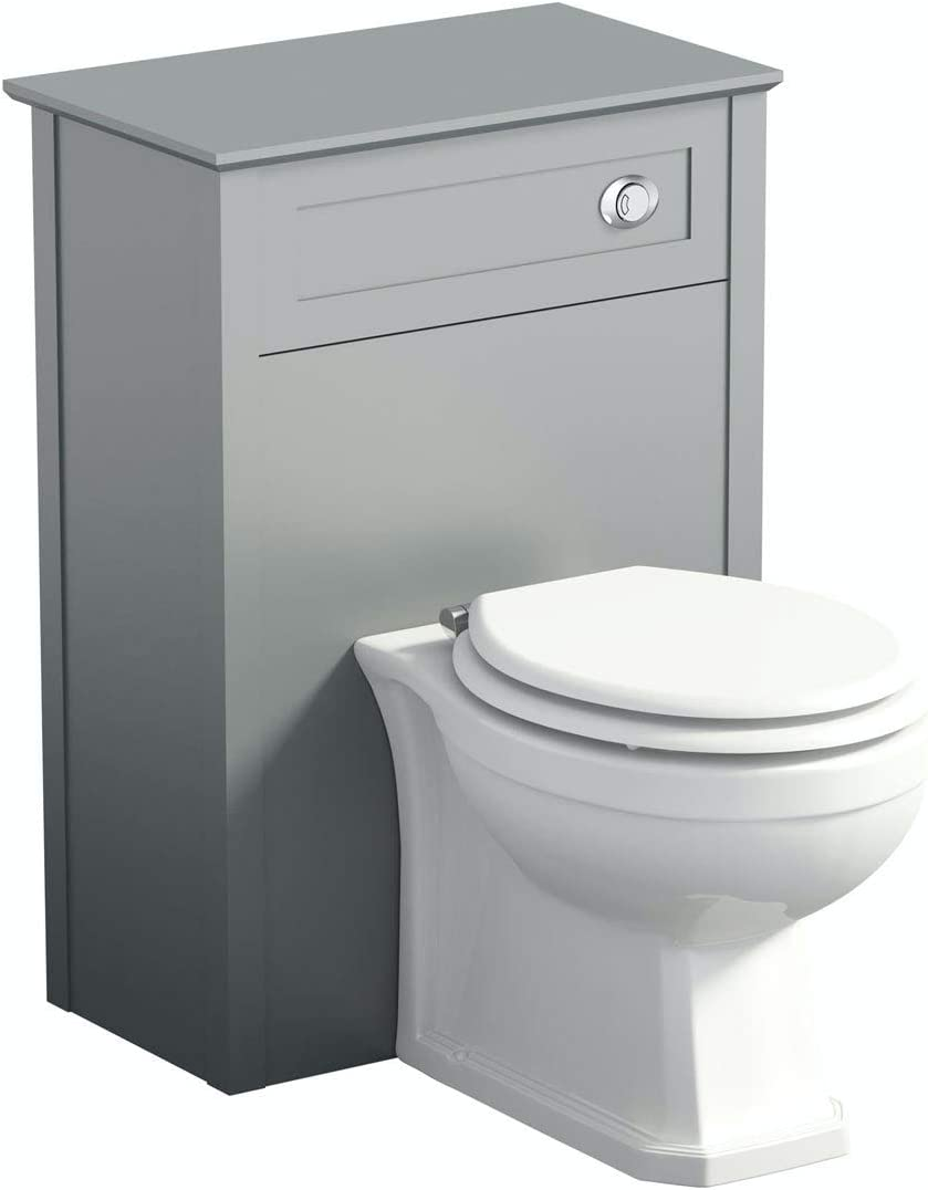 The Bath Co Camberley Satin Grey Back to Wall Toilet Unit 570mm
