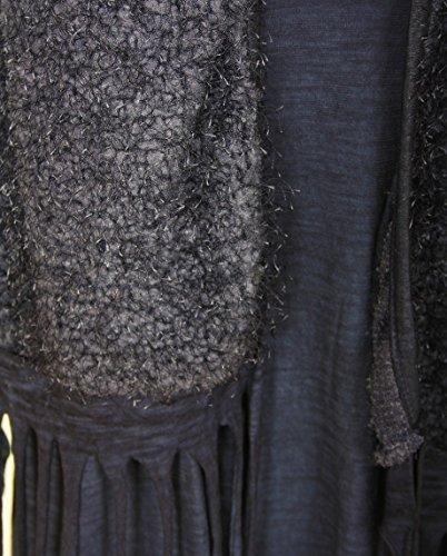 NUEVO Azul Beige Gris de Mujer Lagenlook Italiano con capas Top Túnica Hairy Knit Tassel Chaleco de azúcar Crisp Ladies Fashion Talla única 2. Grey