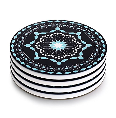 LIFVER 4-Piece Porcelain Modern Jewelry Blue Coaster Sets.