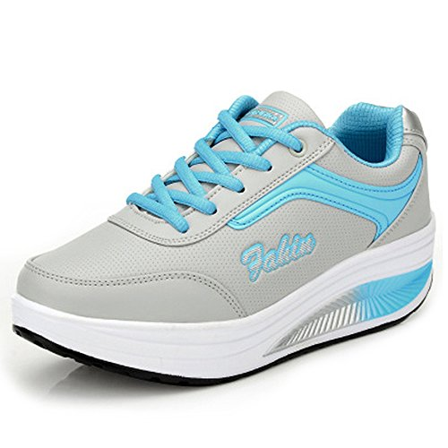 Gris Chaussures Cuir Sports Lacet Bleu Basses Femme Sneakers Baskets Fitness AcByRBgTq