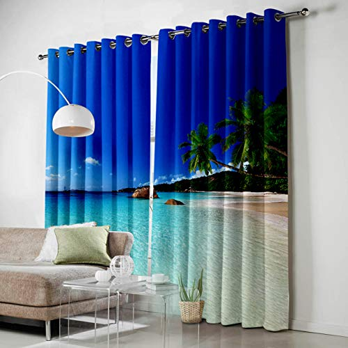 (SODIKA Grommet Window Panel Curtain Set, Room Décor Curtain Drapes for Living Room Dining Bedroom - Ocean Theme Sand Beach Wave Sea Water Pattern,Each 40 by 63 Inch,Set of Two Panels)