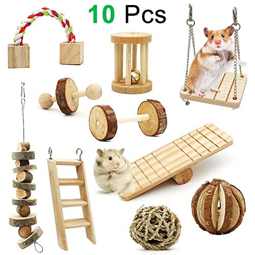 ZALALOVA Hamster Chew Toys, 10Pack MSDS Approved Natural Wooden Pine Guinea Pigs Rats Chinchillas Toys Accessories Dumbells Exercise Bell Roller Teeth Care Molar Toy for Bunny Rabbits (Pet Mouse Accessories)