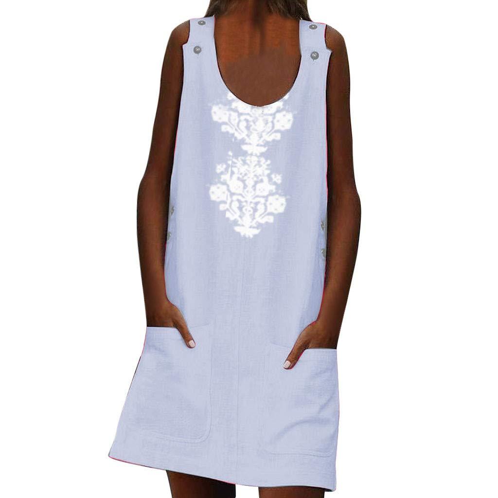 Women Linen Print O-Neck Sleeveless Dress Buttons Pockets Casual Dress Plus Size (White, M)