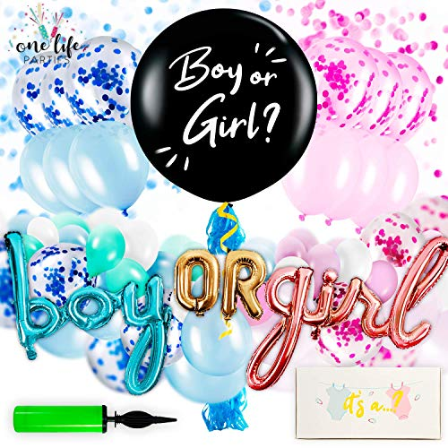 Gender Reveal Party Supplies - Decorations Kit for Baby Boy or Girl with Confetti, Pink and Blue Balloons, Large Black Balloon, and Banner Balloons - 97 Pieces