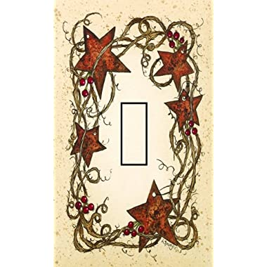Rusty Stars Single Toggle SwitchStix Peel and Stick Switch Plate Cover Décor