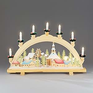 Candelabro de madera 'Navidad pueblo' con 10Bombillas transparentes