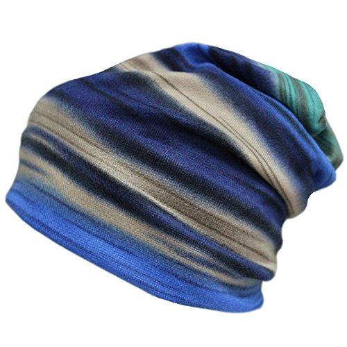 Womens Winter Fleece Rainbow Stripes Slouchy Baggy Beanie Hat Cap Hood Hairband