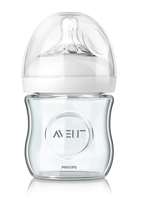 Philips Avent SCF671/17 - Biberón de Cristal Natural, tetina Suave y Flexible, anticólicos, 120 ml, Color Transparente
