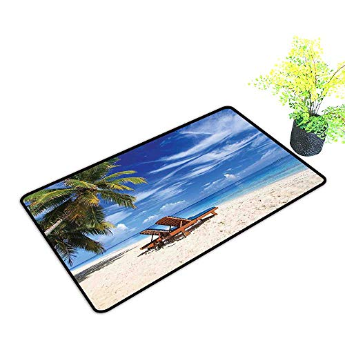Diycon Interior Door mat Seaside Two Beach Chairs on The Tropical Sandy Beach Under Palm Trees Relaxing W24 xL35 Personality Blue Green and - Elegance Tuscan Light Two