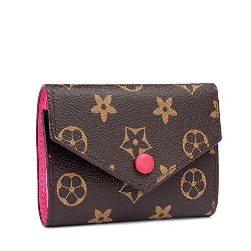 Women RFID Blocking Retro Wallet, Small Wallet Tri-fold Credit Card Holder(Hot Pink)
