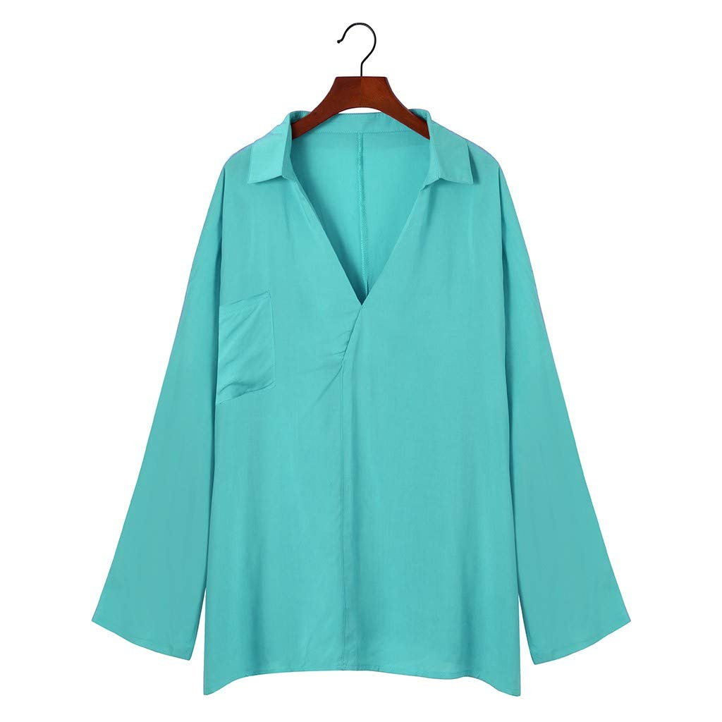 Toasye Damenmode Large Size V-Ausschnitt Einfarbig Langarm Freizeithemd Top Elegant Langarm Oberteile Einfarbig V-Ausschnitt Lose Hemdbluse T-Shirt Tops