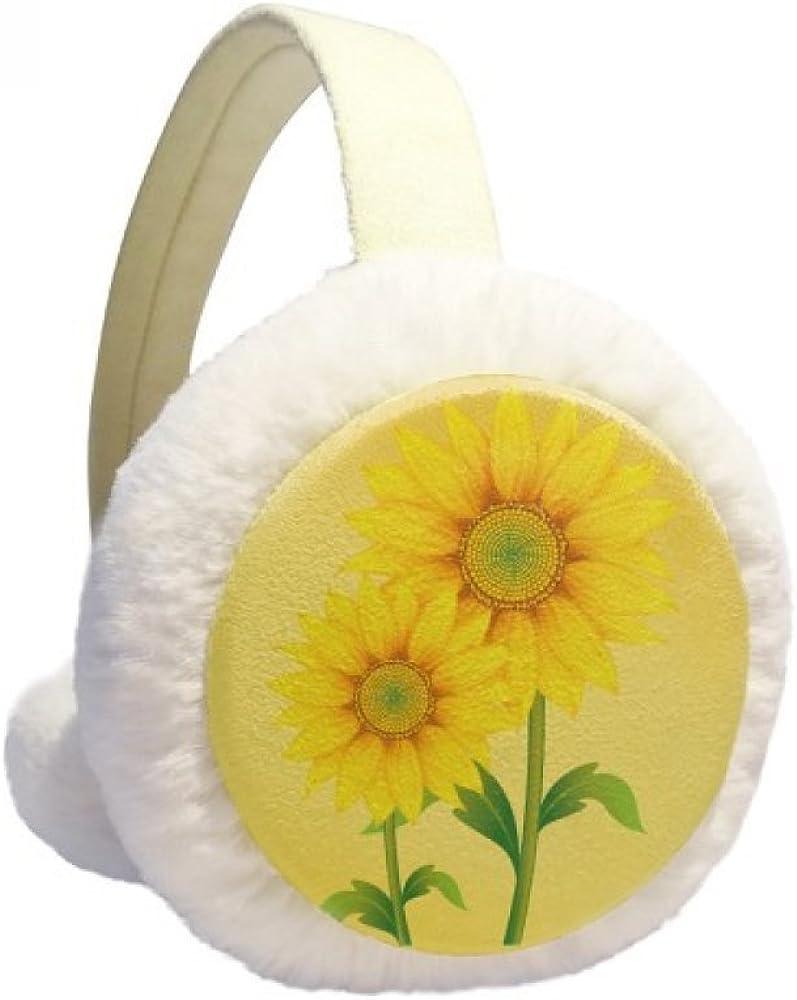 Yellow Sunflower Greenery Flower Plant Winter Ear Warmer Cable Knit Furry Fleece Earmuff Outdoor