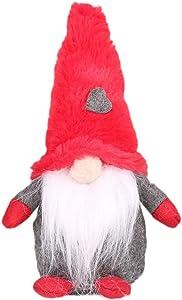 Lurowo Handmade Swedish Gnome Plush,Handmade Scandinavian Tomte Swedish Elf Dwarf Nordic Plush Figurine Toy,Christmas Gnome for Home Decor Christmas Decorations Presents (Red, Type 1)