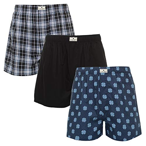 Lucky Brand Mens 3 Pack Woven Boxers Moonless Night Plaid/Moonless Night/Dark Denim Medium by Lucky Brand