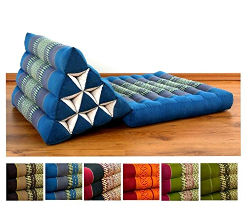 One Fold Thai Cushion, 100 % Natural Kapok Filling, Foldable Thai Mat with Triangle Cushion, Headrest, Thai Pillow by LivAsia