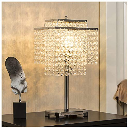 GLANZHAUS Contemporary Modern Style Romantic Atmosphere Lighting Chrome Finish Base Raindrop Silver Bedside Crystal Table Lamp, Desk Lamp with Clear Crystal Lampshade for Gift Bedroom Living Room