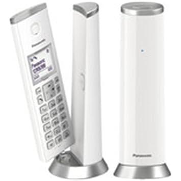 Panasonic KX-TGK212 - Teléfono fijo inalámbrico de diseño Dúo (LCD, identificador de llamadas, agenda de 50 números, bloqueo de llamada, modo ECO), ...