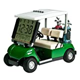 LCD display Mini Golf Cart clock for Golf Fans Great Gift for Golfers Superior Race souvenir novelty golf gifts (green) (1)