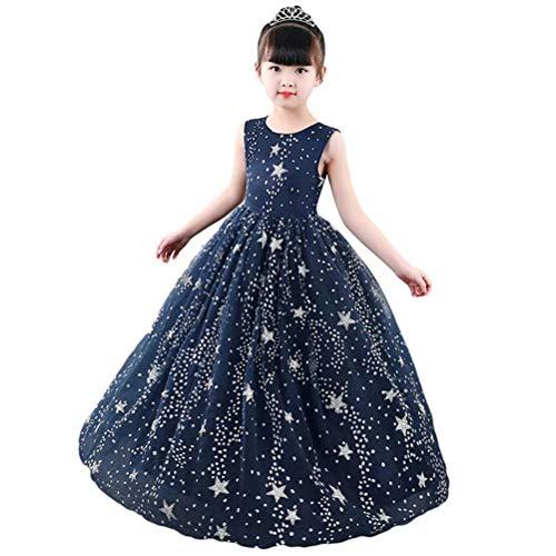 Sun Drop Girl Halloween (Tsyllyp Big Girls Princess Long Dress Glitter Maxi Sundress Puffy Tulle Evening Party Gowns 4-14Y Dark)