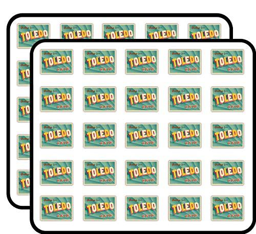 Toledo City USA Vintage Greeting Label Art Decor Sticker for Scrapbooking, Calendars, Arts, Kids DIY Crafts, Album, Bullet Journals 50 Pack -