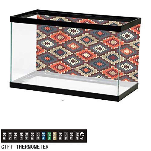 (bybyhome Fish Tank Backdrop Aztec,Vibrant Colored Classic Retro,Aquarium Background,48