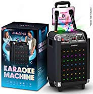 Bluetooth Karaoke Machine for Adults and Kids - Portable Singing Equipment Set W/ 2 Wireless Microphones - PA