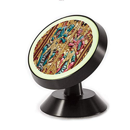 Magnetic Dashboard Cell Phone Car Mount Holder,Indonesia with Traditional Carved Golden Leaves,can be Adjusted 360 Degrees to Rotate,Phone Holder Compatible All Smartphones -