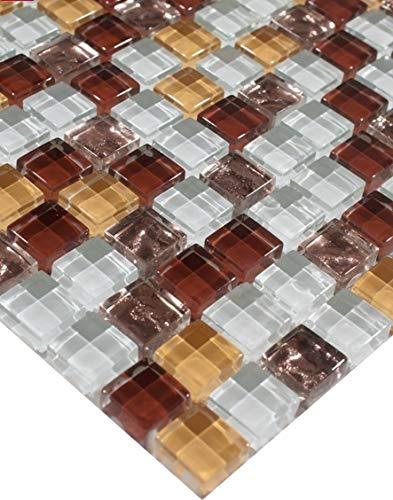 4cb14f4e1c Azulejos de mosaico de vidrio de mosaico 1 estera blanca de cristal de  bronce de Brown