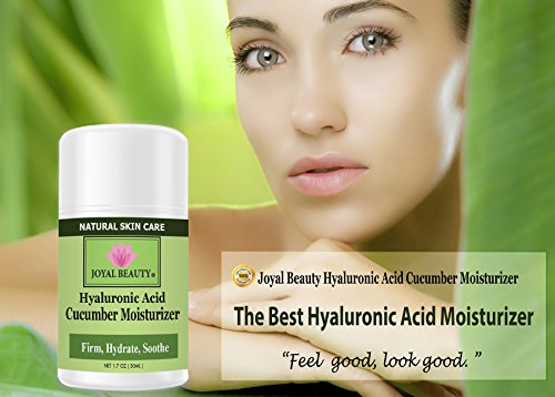 Best Hyaluronic Acid Cucumber Moisturizer by Joyal Beauty. Silky Hydra-Firming Moisturizer with Argan Oil, Squalene, Rosehip Oil, Spirulina. Optimize skin's elasticity. Firm and plump skin instantly.