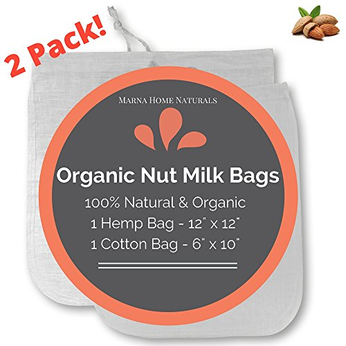 2 Pack Marna Home Naturals 100% Organic Nut Milk Bag / Coffee Filter - Hemp 12x12