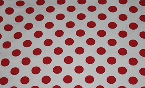 (Knit Medium Size Red Dots on White Design Fabric By the Yard, 95% Cotton, 5% Lycra, 60 Inches Wide, Excellent Quality, Medium weight, 4 way stretch (4)