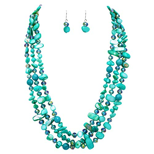 (Rosemarie & Jubalee Women's Stunning Natural Shell Stone and Faceted Cut Glass Bead Knotted Multi Strand Bib Necklace and Earrings Set (Aqua) )