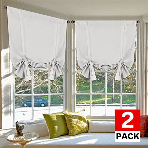 (H.VERSAILTEX Bedroom Curtain 2 Panels Thermal Insulated Room Darkening Tie Up Shades for Kitchen, Privacy Assured (Rod Pocket Panels, 42W x 63L, Greyish White))
