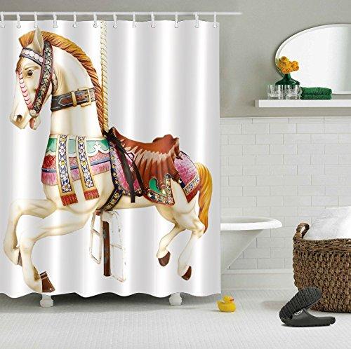 - LB Vintage Paris Carousel Horse Kids Toy Decor Shower Curtain for Bathroom, Old Amusement Park Bath Curtain, Water Repellent Decor Curtain, 70 x 70 Inch