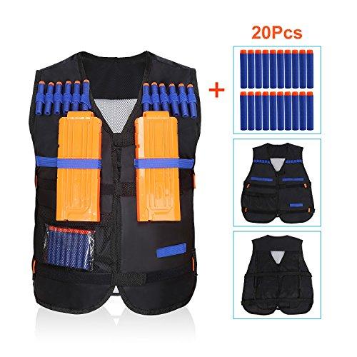 Bullet Jacket (Kids Elite Tactical Vest Jacket + 20Pcs Soft Foam Darts Bullets + 2Pcs 12-Dart Quick Reload Clips For Nerf Toy Gun N-Strike Elite Series)