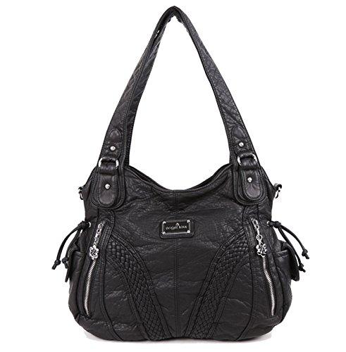 Angelkiss Women Top Handle Satchel Handbags Shoulder Bag Messenger Tote Washed Leather Purses Bag (BLACK)