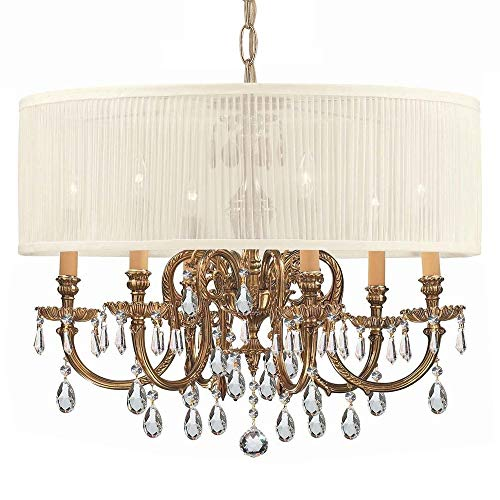 Crystorama 2916-OB-SAW-CLM Crystal Accents Six Light Chandelier from Brentwood collection in Brassfinish, ()