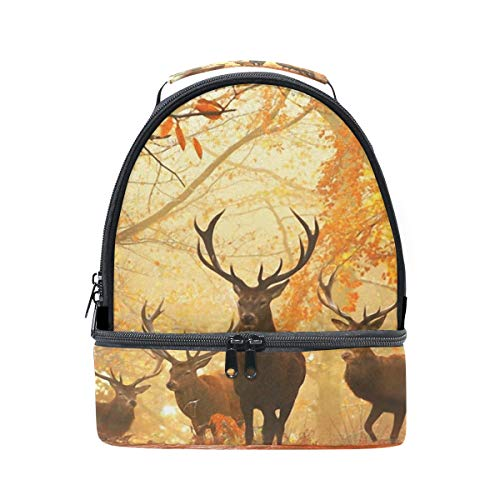 diseño en doble y de con picnic correa Bolso de bosque para almuerzo ajustable otoño ciervo Uqxaw8
