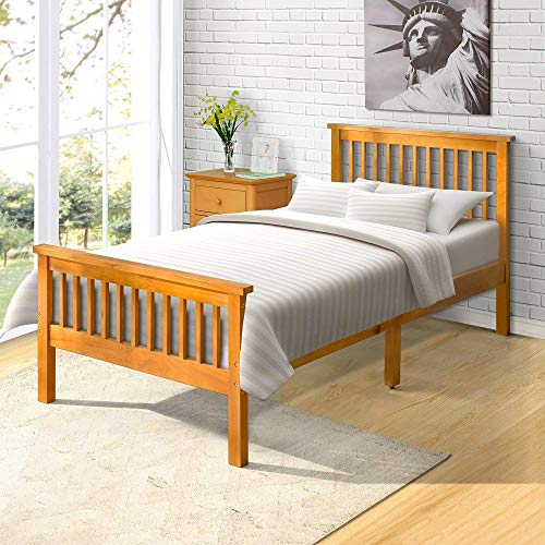 Harper Bright Designs Wood Platform Bed, 80.3 L X 42.5 W X 29.5 H, Oak