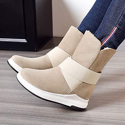 Negro La Plana Cálida Beige Moda Gris Casual Zapatos Botas Mujer Pingxiannv Para Invierno De Nieve q1H0KwUO