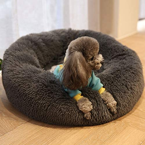 Homebeez Small Dogs Bed Pet Cat Dog Sofa Couch Calming Sleeping Bed Soft Plush Upholstered Pet Snuggling Cot Dark Gray