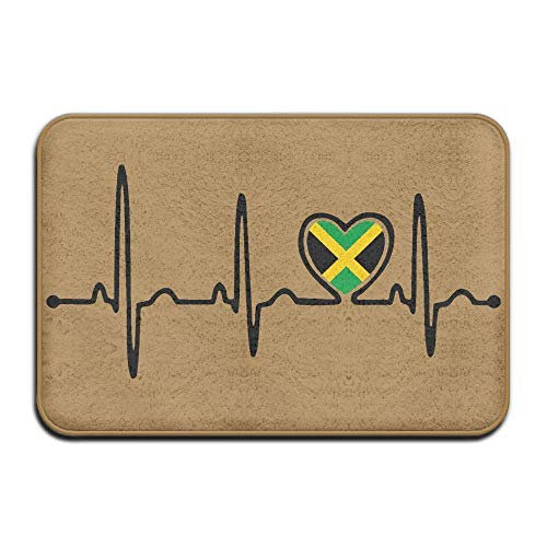 CUKENG Indoor/Outdoor Natural Easy Clean Doormat 23.6x15.7 inches/40x60cm Inside & Outside Floor Mat Jamaica Flag Heartbeat Pride Design Pattern for Front Porch