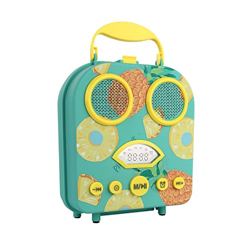 (RHM Portable Beach Speaker,Wireless Outdoor Speaker with Alarm Clock FM Radio,Cartoon Handbag Speaker for Kids,for Outdoor&Indoor Activities-Green)