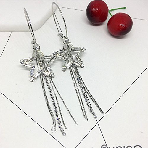 QTMY Dangle Earrings with Crystal Pentagram Star Tassels /…