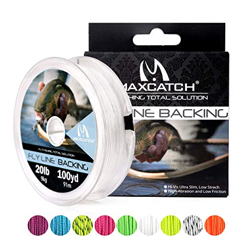 M MAXIMUMCATCH Maxcatch Fly Line Backing for Fly Fishing Braided 20/30lb 100yards (White, 20lb)
