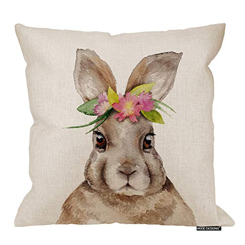 (HGOD DESIGNS Easter Pillow Case,Cartoon Cute Rabbit Portrait with Flower Cotton Linen Cushion Covers Home Decorative Throw Pillowcases 18x18inch)